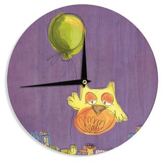 KESS InHouseCarina Povarchik 'Owl Balloon' Purple Orange Wall Clock