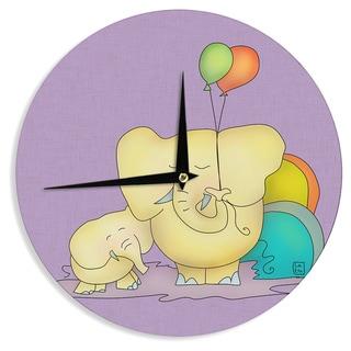 KESS InHouseCarina Povarchik 'Party Time' Purple Yellow Wall Clock