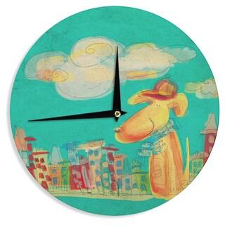 KESS InHouseCarina Povarchik 'Perrito' Teal Dog Wall Clock
