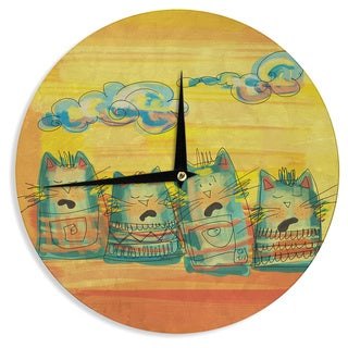KESS InHouseCarina Povarchik 'Singing Cats' Yellow Orange Wall Clock