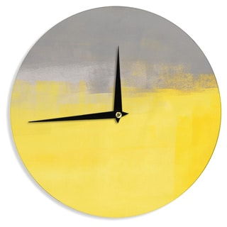 KESS InHouseCarolLynn Tice 'A Simple Abstract' Yellow Gray Wall Clock