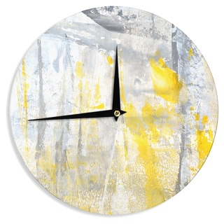 KESS InHouseCarolLynn Tice 'Abstraction' Grey Yellow Wall Clock