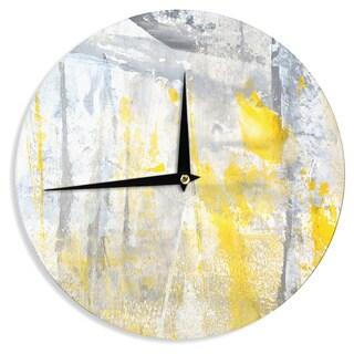 KESS InHouseCarolLynn Tice 'Abstraction' Grey Yellow Wall Clock