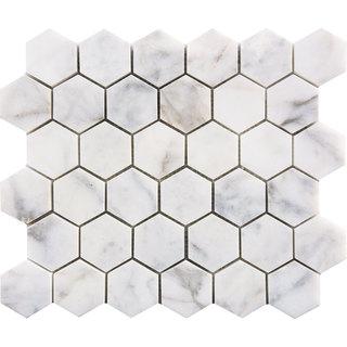 Italian Calacatta Gold Polished 2-inch Hexagon Mosaics