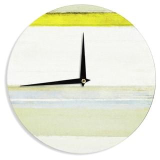 KESS InHouseCarolLynn Tice 'Built to Last' Yellow White Wall Clock