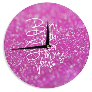 "Kess InHouse Beth Engel ""Born with Glitter"" Pink Sparkle Wall Clock 12"""