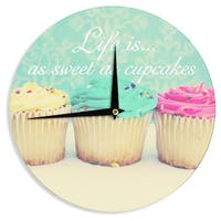 """Kess InHouse Beth Engel """"Life Is As Sweet As Cupcakes"""" Green Wall Clock 12"""""""
