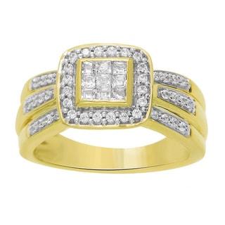 JewelMore 10k Gold 1/2ct TDW Round/ Princess Diamond Cushion Halo Engagement Ring (H-I, I2-I3)