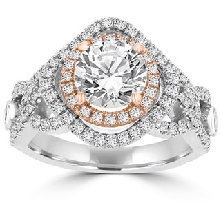 La Vita Vital 14k Two-tone White/ Rose Gold 1. 3/5ct TDW Double Halo Diamond Engagement Ring (G-H, VS-SI1)