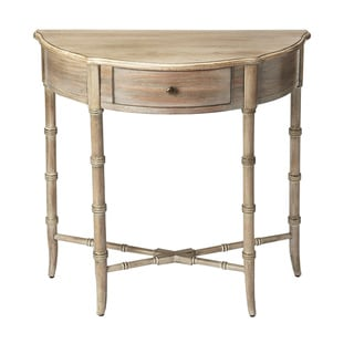 Handmade Butler  Skilling Driftwood Demilune Console Table