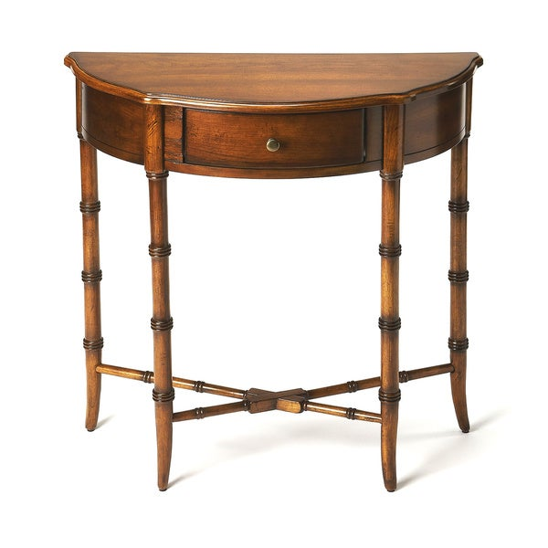 Butler Skilling Antique Cherry Demilune Console Table