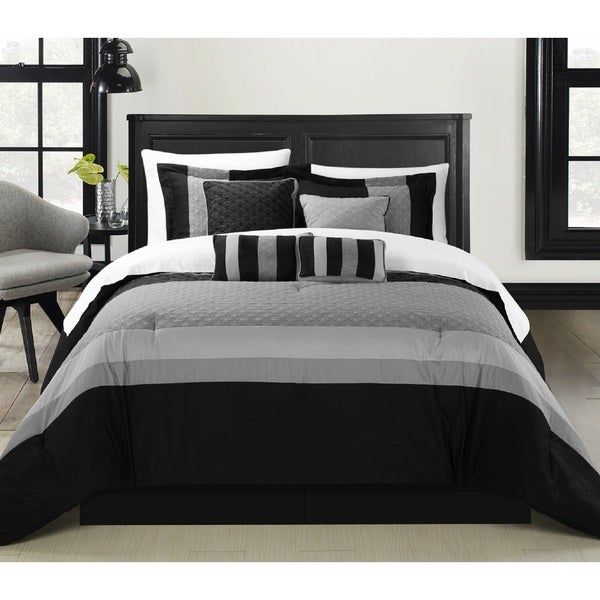 shop chic home delmonte black 12 piece bed in a bag comforter set on sale free shipping. Black Bedroom Furniture Sets. Home Design Ideas