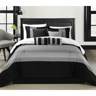 Chic Home Delmonte Black 12-Piece Bed in a Bag Comforter Set