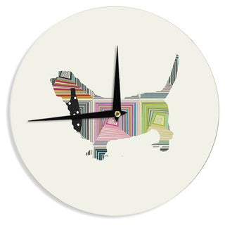 "Kess InHouse Bri Buckley ""Basset"" White Rainbow Wall Clock 12"""
