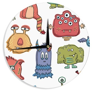 "Kess InHouse Brienne Jepkema ""Little Monsters"" Wall Clock 12"""