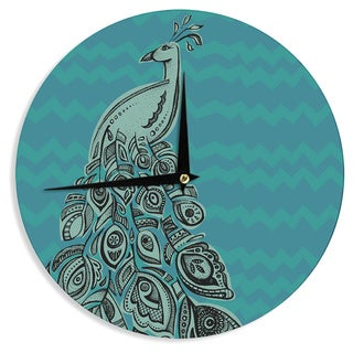 "Kess InHouse Brienne Jepkema ""Peacock Blue II"" Teal Green Wall Clock 12"""
