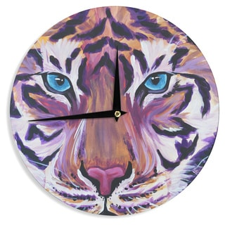 "Kess InHouse Brienne Jepkema ""Purple Tiger"" Orange White Wall Clock 12"""