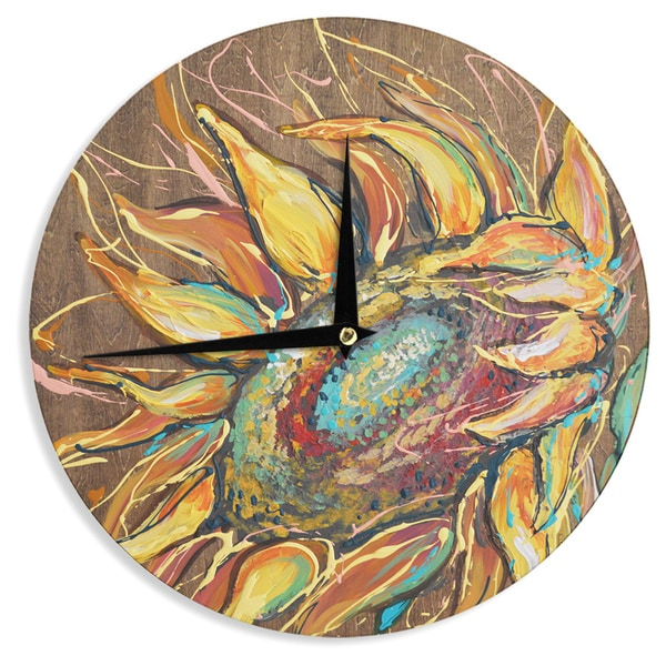 "Kess InHouse Brienne Jepkema ""Sunflower"" Yellow Flower Wall Clock 12"""