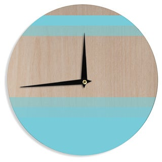 "Kess InHouse Brittany Guarino ""Art Blue"" Aqua Wood Wall Clock 12"""