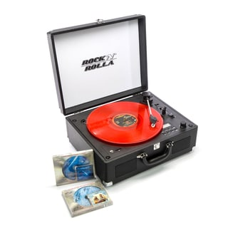 Rock 'N' Rolla XL Black Portable Briefcase Bluetooth Turntable CD Record Player