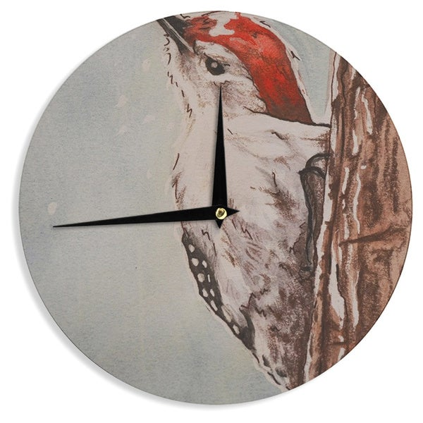 "Kess InHouse Brittany Guarino ""Downy Woodpecker"" Wall Clock 12"""