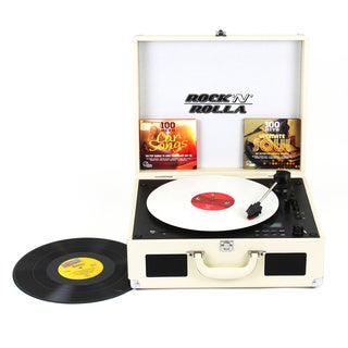 Rock 'N' Rolla XL Beige Portable Briefcase Bluetooth Turntable CD Record Player