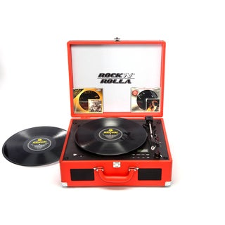 Rock 'N' Rolla XL Red Portable Briefcase Bluetooth Turntable CD Record Player