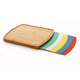 Seville Classics Multicolor Bamboo Cutting Board with 5 Mats
