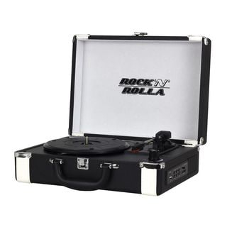 Rock 'N' Rolla Premium Black and White Rechargeable Portable Briefcase Turntable with Bluetooth Record Player