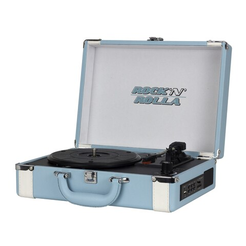 Rock 'N' Rolla Premium Rechargeable Teal and White Bluetooth Portable Briefcase Turntable Record Player