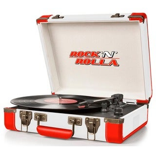 Rock 'N' Rolla White and Red Premium Rechargeable Portable Briefcase Turntable with Bluetooth Record Player