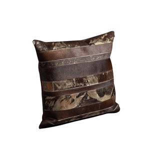 Mina Victory Natural Leather and Hide Mix Stripes Brown Throw Pillow (20-inch x 20-inch) by Nourison