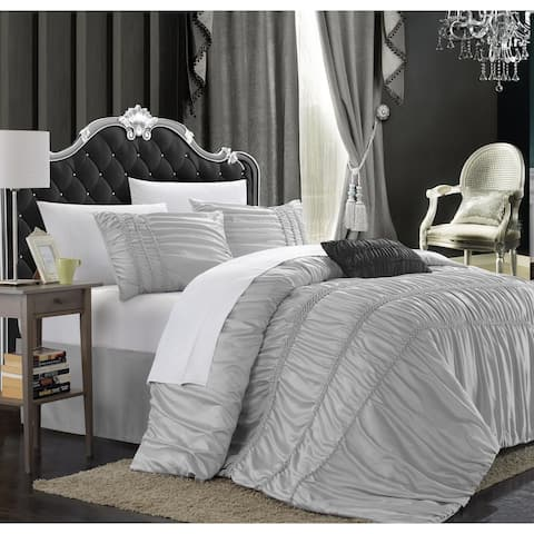 Chic Home Romano 8-Piece Silver Grey Duvet Cover Set
