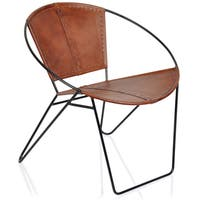 Pine Canopy Midewin Mid-century Tobacco Leather Chair
