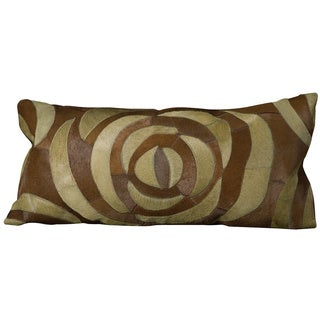 Mina Victory Natural Leather and Hide Rose Green Throw Pillow (14-inch x 30-inch) by Nourison