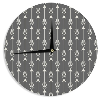 "Kess InHouse Amanda Lane ""Tribal Arrows Dark Gray"" Wall Clock 12"""