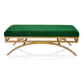 Horizon Boston Emerald Velvet Ottoman/Bench with Antique-goldtone Frame
