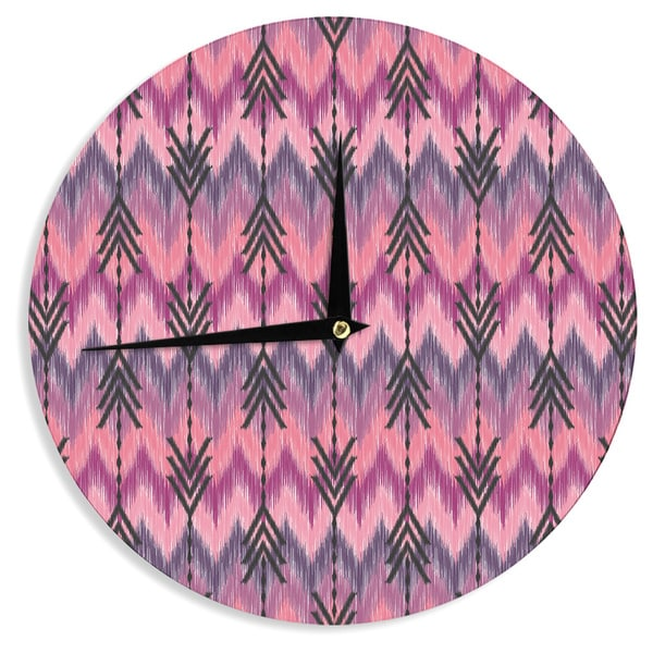 "Kess InHouse Amanda Lane ""Indigo Orchid Chevron Arrows"" Pink Purple Wall Clock 12"""