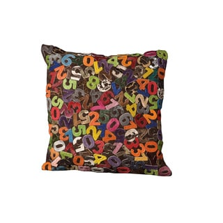 Mina Victory Natural Leather and Hide Numbers Multicolor Throw Pillow (24-inch x 24-inch) by Nourison