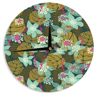 "Kess InHouse Amy Reber ""Green Tropical"" Tropical Floral Wall Clock 12"""