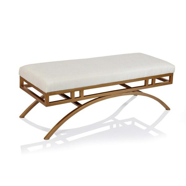 Shop Horizon Boston Natural Blend Fabric Ottoman/Bench with Goldtone ...