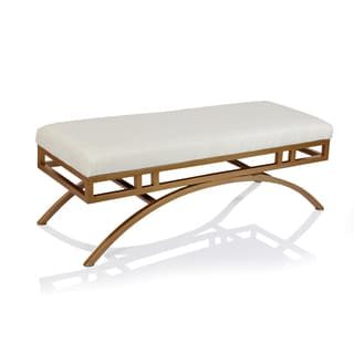 Horizon Boston Natural Blend Fabric Ottoman/Bench with Goldtone Metal Frame