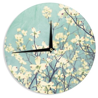 "Kess InHouse Ann Barnes ""Pure"" Teal Floral Wall Clock 12"""