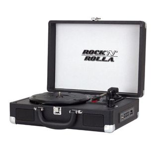 Rock 'N' Rolla JR Black Portable Briefcase Vinyl Turntable Record Player
