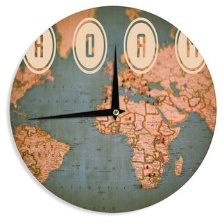"Kess InHouse Ann Barnes ""Roam II"" World Map Wall Clock 12"""