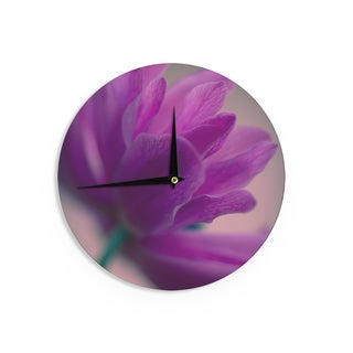 KESS InHouseAnn Barnes 'Standing Ovation' Purple Flower Wall Clock