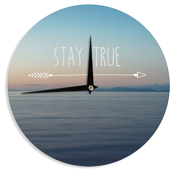 "Kess InHouse Ann Barnes ""Stay True"" Coastal Typography Wall Clock 12"""
