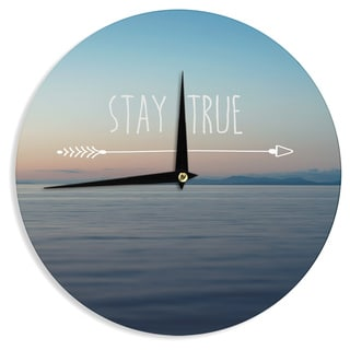 "Kess InHouse Ann Barnes ""Stay True"" Coastal Typography Wall Clock 12"""