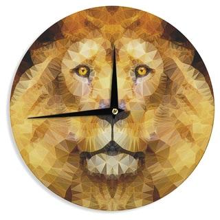 "Kess InHouse Ancello ""Lion King"" Yellow Brown Wall Clock 12"""