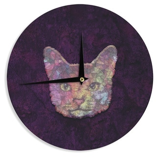 "Kess InHouse Ancello ""Rainbow Cat"" Pastel Purple Wall Clock 12"""